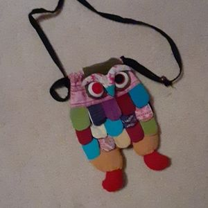 Multi colored owl purse